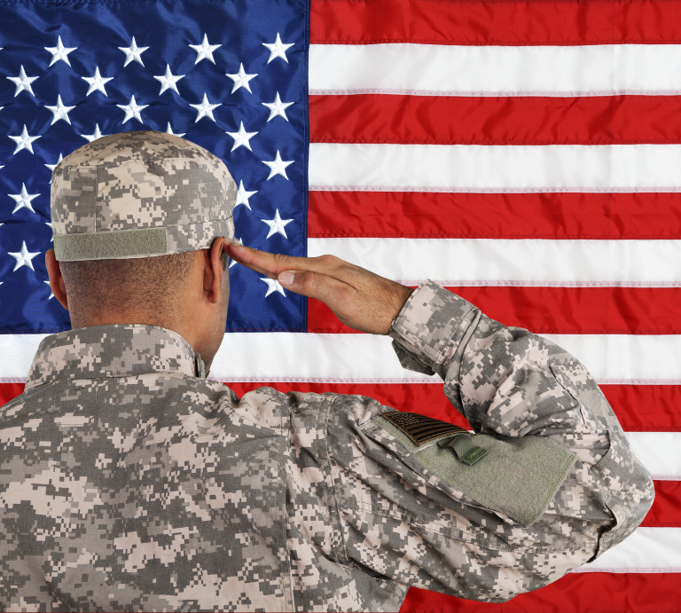Move It Squad Info Box Image_768 x 691_Soldier saluting American flag